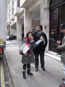 Dr Hashem reads the statement of the demo. Photo: P V Dudman