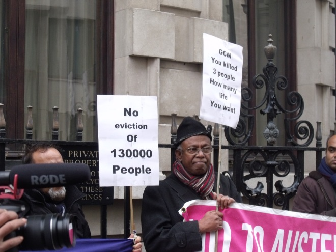 Phulbai actvists and protesters against OECD assessment pledged that GCM will be de-listed from London AIM soon. Photo: Stephen Vince