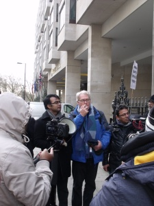 Richard Solly of London Mining Network is briefing the demonstrators about the interrogation inside the AGM and the failure of GCM board to answer the questions of Bangladeshi activists. Photo: P V Dudman