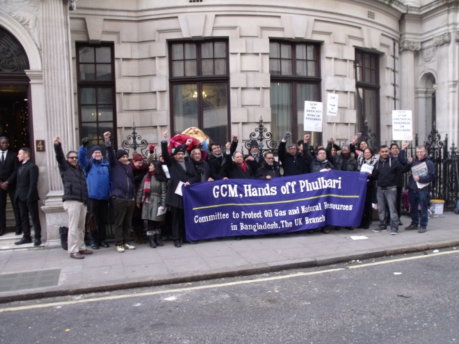 Protesters pledge GCM will be de-listed from London AIM soon. Photo: P V Dudman