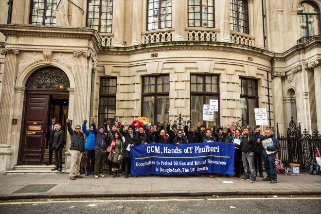 Bangladeshi community and climate change activists protest against the outcome of OECD complaint about Phulbari coal mine. Blockade and action outside GCM's AGM in December 2014. Photo: Golam Rabbani