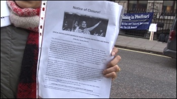 Phulbari Solidarity Group Founder read out a Notice of closure to GCM at the demo on Friday Photo by Pete Mason