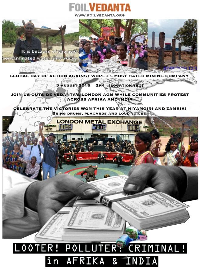 Foil Vedanta AGM 2016 poster. Source: Foil Vedanta campaign letter 6 July 2016