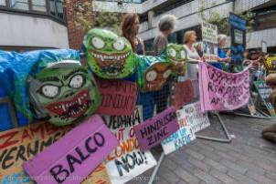 Foil Vedabta demo against Vedanta AGM at Barbican Aug 5th 2016. Photocredit: Peter Marshall