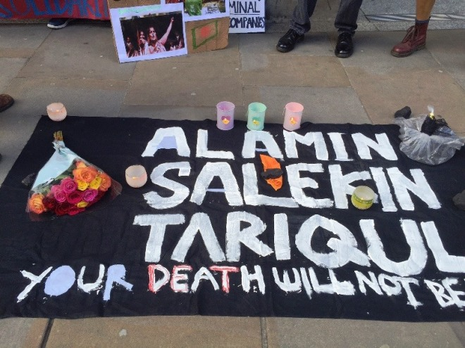 Hand-painted banner for victims of Phulbari shooting. Photocredit: Peter Marshall