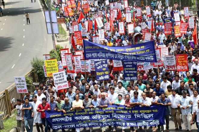 NCBD march against Rampal deal to handover statement to PM of Bangladesh in Dhaka 28 July 2016