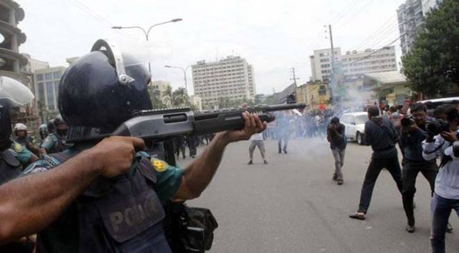 Police opens fire on NCBD marchers in Dhaka 28 July 2016