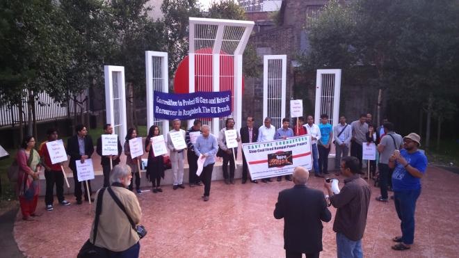 London protest against destructive Rampal power plant on 28 July 2016