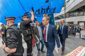 This is how the Vednata board members enter amidst protest and under the shadow of a monster on Friday Phto Peter Marshall